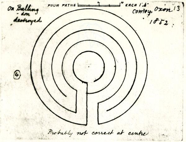 Herbert Hurst sketch of the Cowley turf labyrinth da www.labyrinthos.net