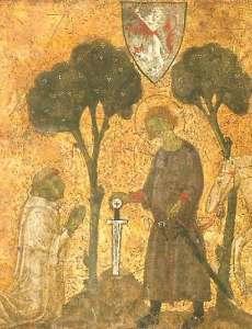 new_Galgano conficca la spada -illustrazione da tavoletta di Biccherna  - Archivio di Statoa di Siena