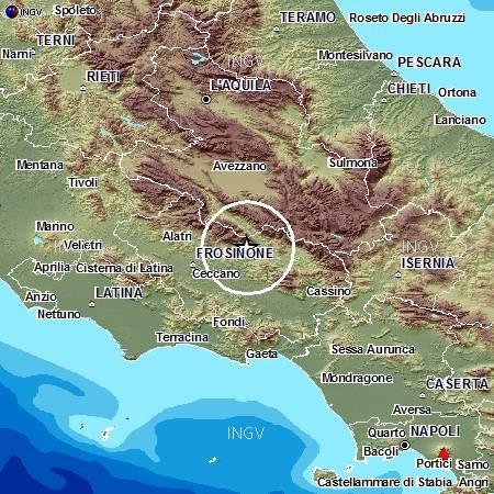 L'area colpita dal sisma in Ciociaria del 16 febbraio