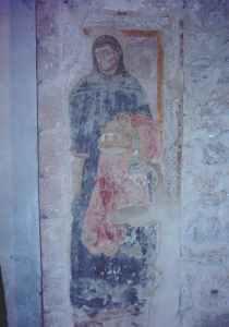new_12 Celestino V che depone la tiara papale - affresco all'interno della chiesa di S Antonio a Colle del Fico a Ferentino (FR)