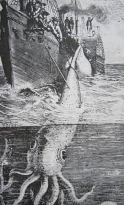 La nave francese Alecton tenta di catturare un calamaro ginagte nel 1861