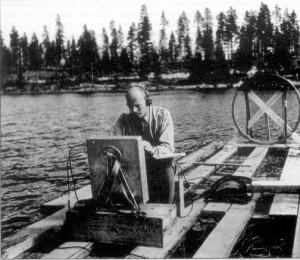 Il maggiore Karl-Gösta Bartoll sul lago Kölmjärv nel luglio del 1946