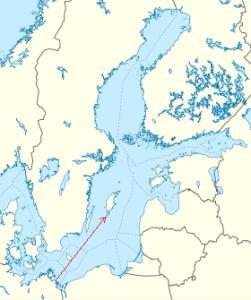 """Cartina del Mar Baltico con la traiettoria del razzo """"A4"""" caduto davanti alle Scogliere di Hoburg"""