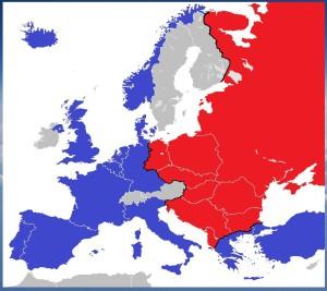 """Cartina dell'Europa della """"Guerra Fredda"""" con la divisione in due blocchi e la """"Cortina di Ferro"""""""