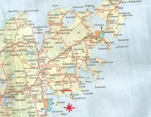 """Cartina della costa nord-orientale dell'isola di Gotland con la località di Hide e il punto del presunto """"crash"""""""