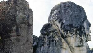 2 A sx Volto megalitico di Borzone in Liguria-a dx quello di Marcahuasi-Perù