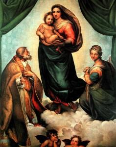 """La """"Madonna Sistina"""" di Raffaello. """"Gemäldegalerie"""" di Dresda. Germania"""