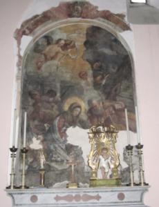 Ceccano - Chiesa S Sebastiano - Tela Adorazione dei Magi con esadatti - Copia