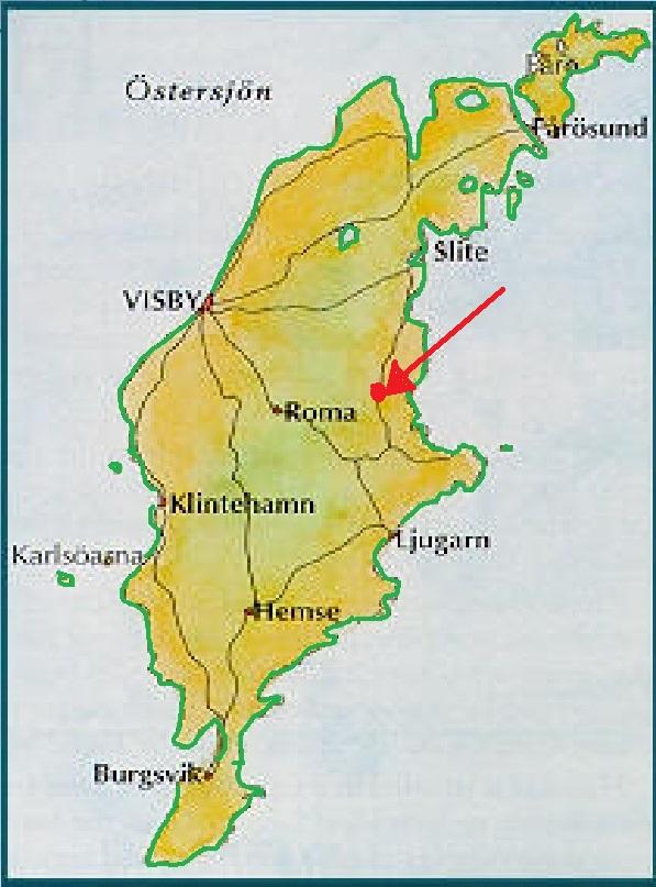 Mappa Gotland- indicata la Gothemkyrka
