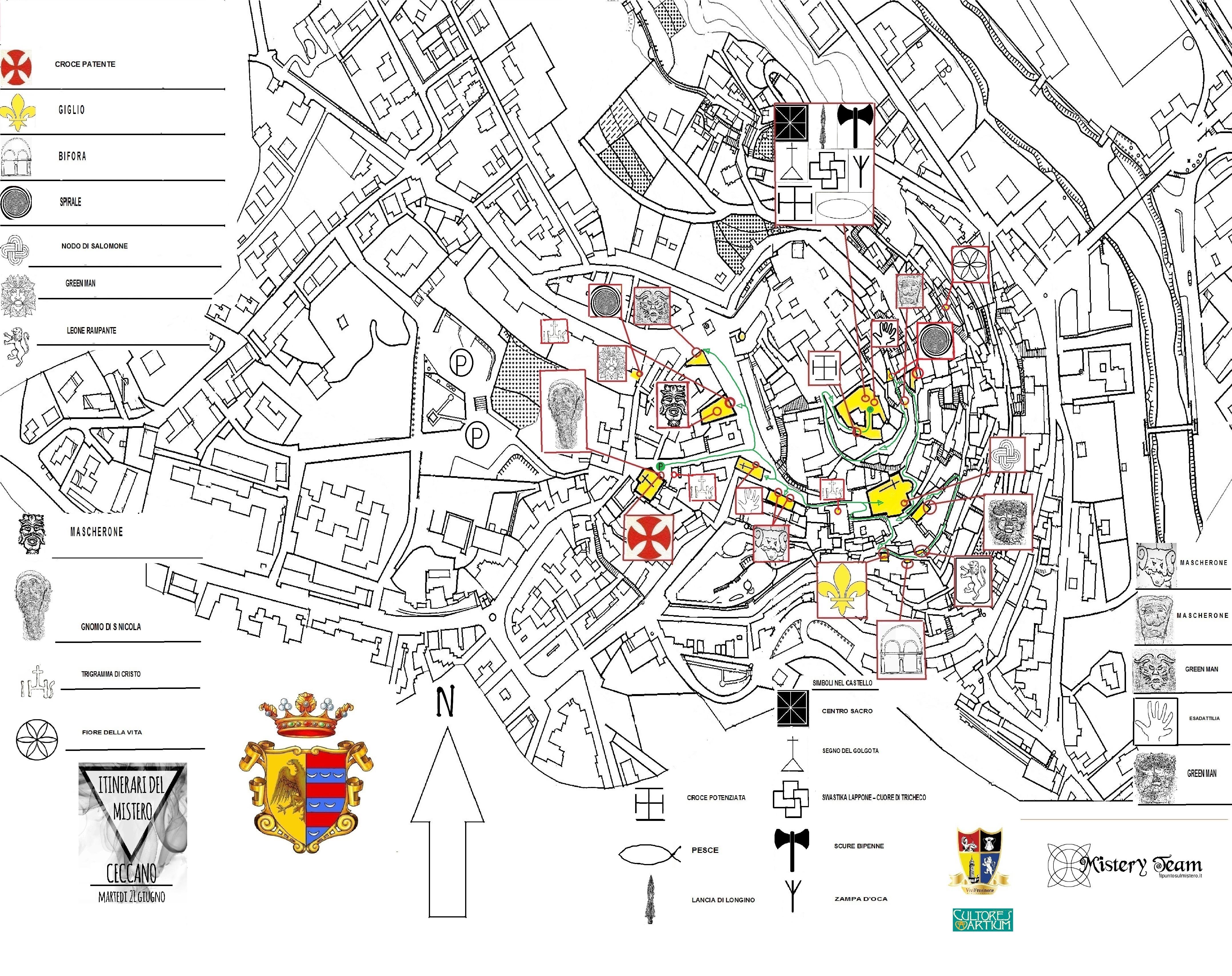 Mappa Ceccano - itinerario e simboli