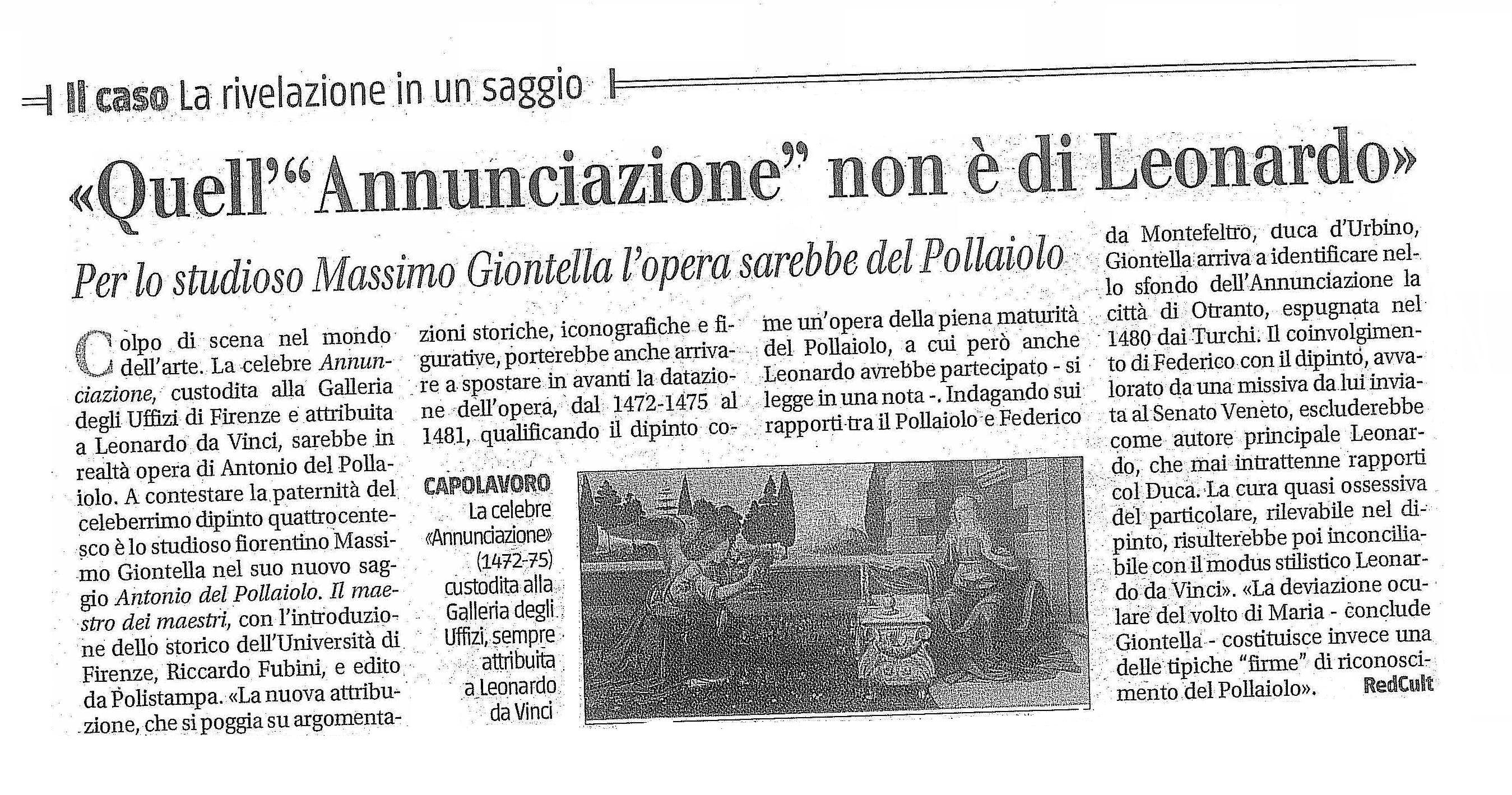 Quell'Annunciazione non è di Leonardo -Il Giornale 7-6-2016