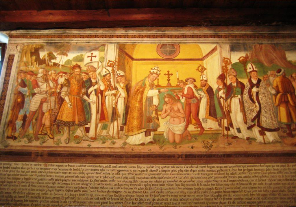 Chiesa S Stefano a Carisolo. A ffresco della leggenda di Carlo Magno di Simone Baschenis. 1534