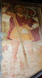 Chiesa cimiteriale di S. Stefano a Carisolo. Affresco con S. Cristoforo