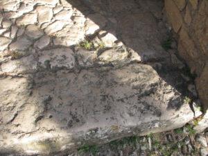 Tc sul gradino dell'accesso alla chiesa di S.Nicola a Castro dei Volsci.