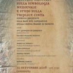 Convegno nazionale sulla Simbologia medievale e studi sulla Triplice Cinta – sabato 10 settembre 2016 a Bonito (AV) –