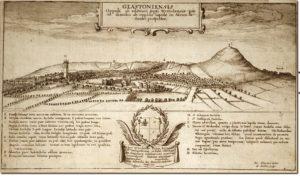 Antica stampa che illustra il complesso dell'Abbazia di Glastombury. Sullo sfondo, a destra, la cosiddetta Collna del Tor, anch'essa ricca di misteri…