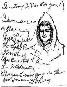 Frammento dei messaggi ricevuti da Bond tramite la scrittura automatica. Vi compare addirittura l'autoritratto di un monaco – vissuto secoli prima – che si firma Johan!