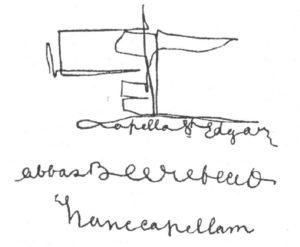 In alto: una delle tante « informazioni »  ricevute tramite scrittura automatica, dalla strana coppia di archeologi psichici di Glastonbury