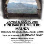 Giovedì 21 giugno, con il SOLSTIZIO D'ESTATE tornano gli ITINERARI DEL MISTERO. Appuntamento a MAENZA (LT)